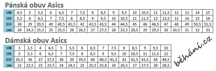 velikostni tabulka asics behani.cz 693ef65ba2